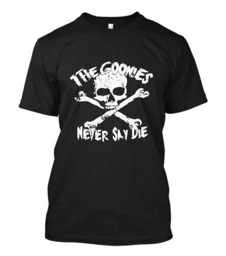 New The Goonies Never Say Die Logo Short Sleeve Men/'s Black T-Shirt Size S-5XL
