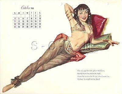 Original Vintage Semi Nude Pinup Calendar- Harem Girl- Ernest Chiriaka- Oct 1953