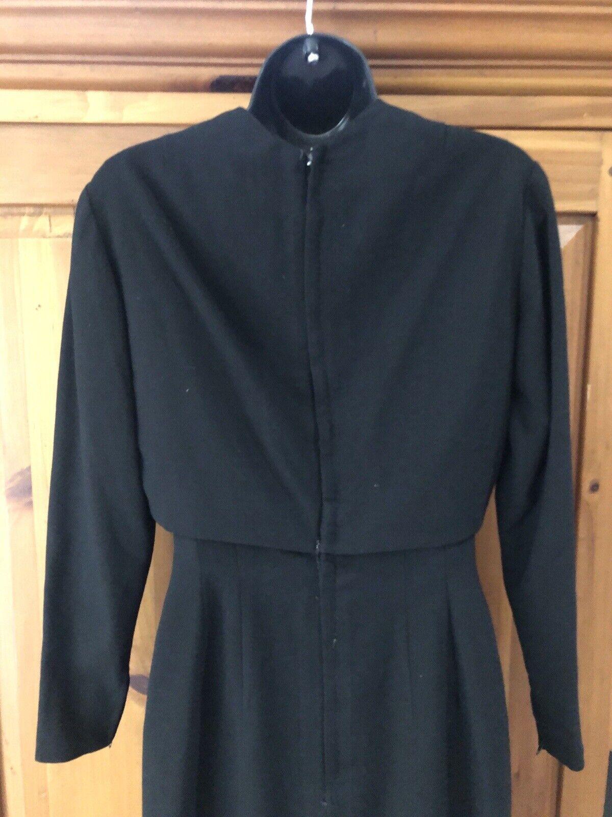Travilla vintage 60s/70s black wool crepe dress s… - image 8