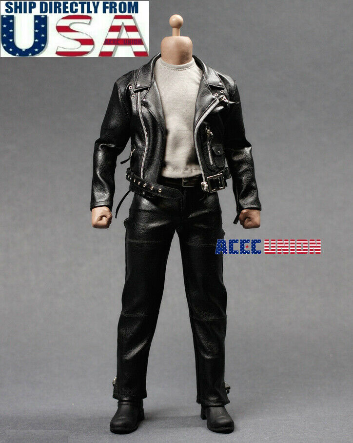1 6 T-800 Leather Motorcycle Jacket Set For 12  Hot Toys Arnold Muscular Figure