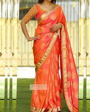 Fancy designer Bollywood party wear beautiful orange colour fancy saree