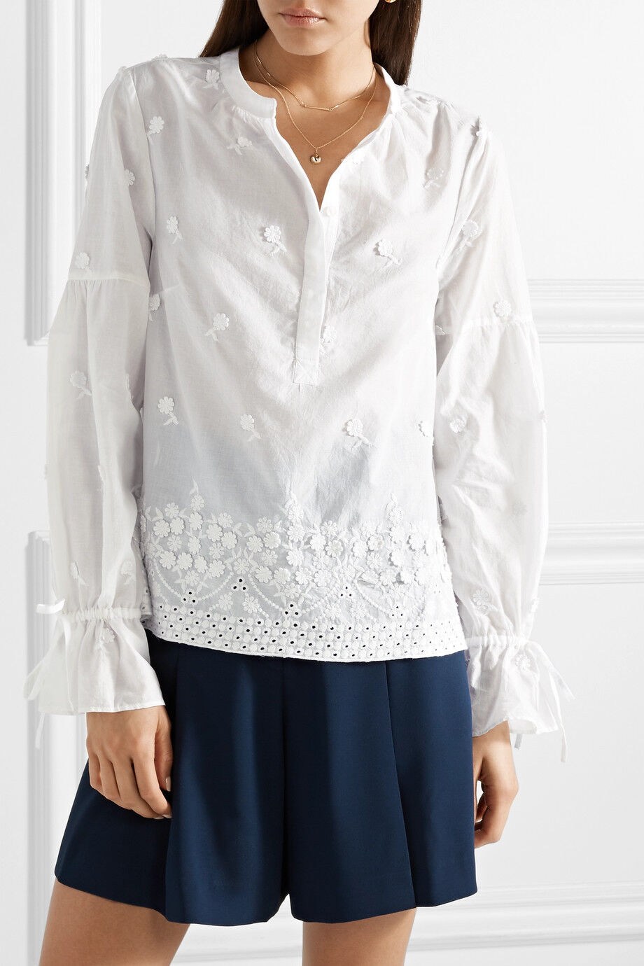 NWT  Designer J.CREW Falling Blossoms Broderie Anglaise  SHIRT  Weiß