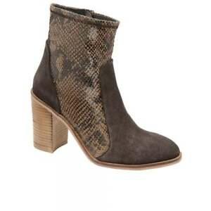 Leather Snake Suede Ankle Print Animal Ravel Heel Brown Skin Ladies Mid Boots tnqagOpw