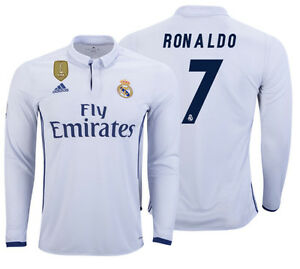 size 40 f3563 78f15 Details about ADIDAS CRISTIANO RONALDO REAL MADRID LONG SLEEVE HOME JERSEY  2016/17 CWC FIFA PA