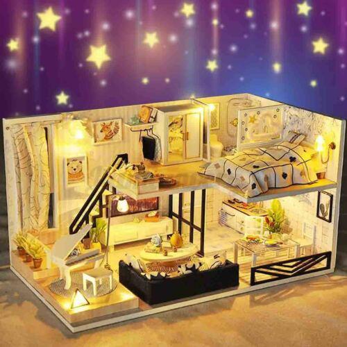DIY LED Loft Apatments Dollhouse Miniatue Wooden Funitue Kit Doll House   R