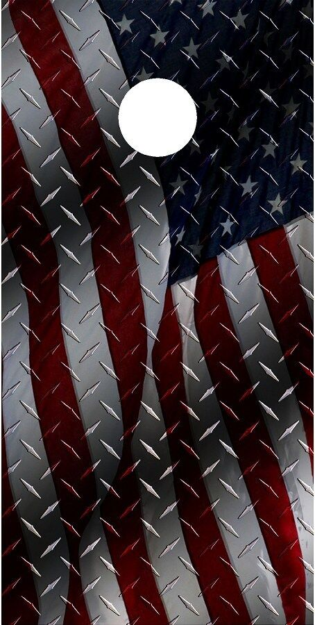 American flag diamond plate cornhole board game decal wraps
