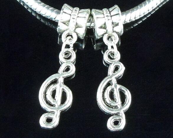 30pcs Antique Silver Musical Note Dangle Charms Fit European Bracelet ZY78