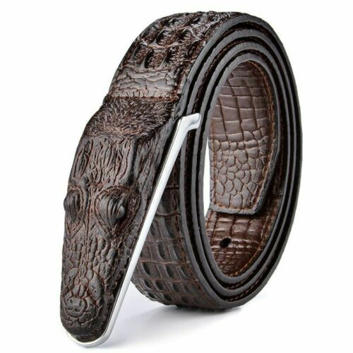 Crocodile en Cuir Designer Ceinture Luxe Or Argent Bronze Ceinture boucle en métal hommes