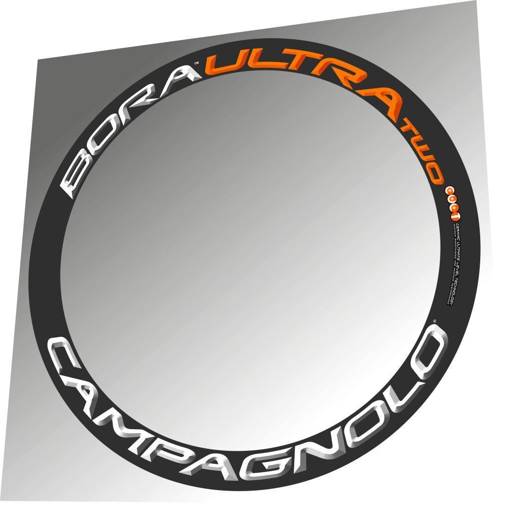 CAMPAGNOLO BORA ULTRA TWO orange WHITE 3D DESIGN REPLACEMENT RIM DECAL SET