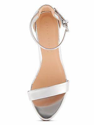 Caja De Zapato Tacón Alto Dos Parte Sandalias de bloque de Margarita-Plateado UK8 EU41 JS16 94