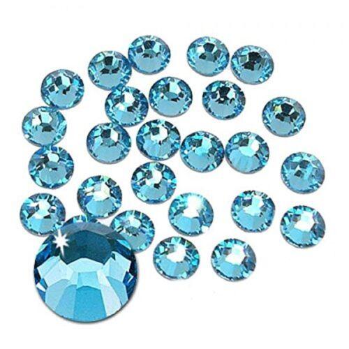 210 STRASS ADESIVI 5mm azzurro celeste Aquamarina  hotfix Brillantini Cristal