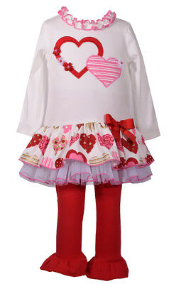 Bonnie Jean Girls Valentines Day Sequins Heart Dress Leggings Size 4 5 6 New