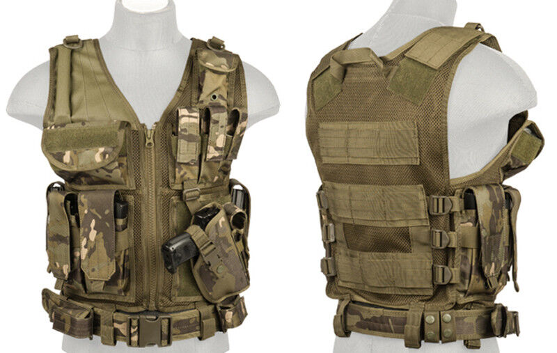 Tactical Assault Warrior Pistol Holster Cross Draw Vest with Pouches Land Camo