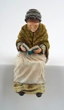 Grandmother Sitting Figurine, Dolls House Miniatures, Reading Statue.