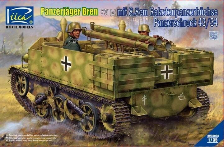 Riich modelloli 1 35 Panzerjager Bren 731(e) mit 8.8cm Raketenpanzerbucchse Panzersc