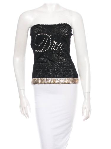 Christian Dior Black knit top Logo Size S