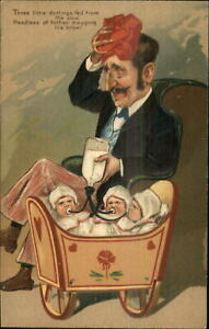 PFB-Exasperated-Father-Triplet-Babies-Caricature-c1910-Embossed-Postcard