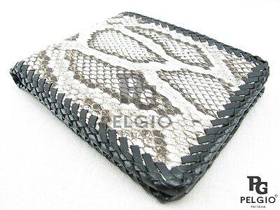 PELGIO Real Genuine Python Snake Skin Leather Men/'s Bifold Wallet Matte Black