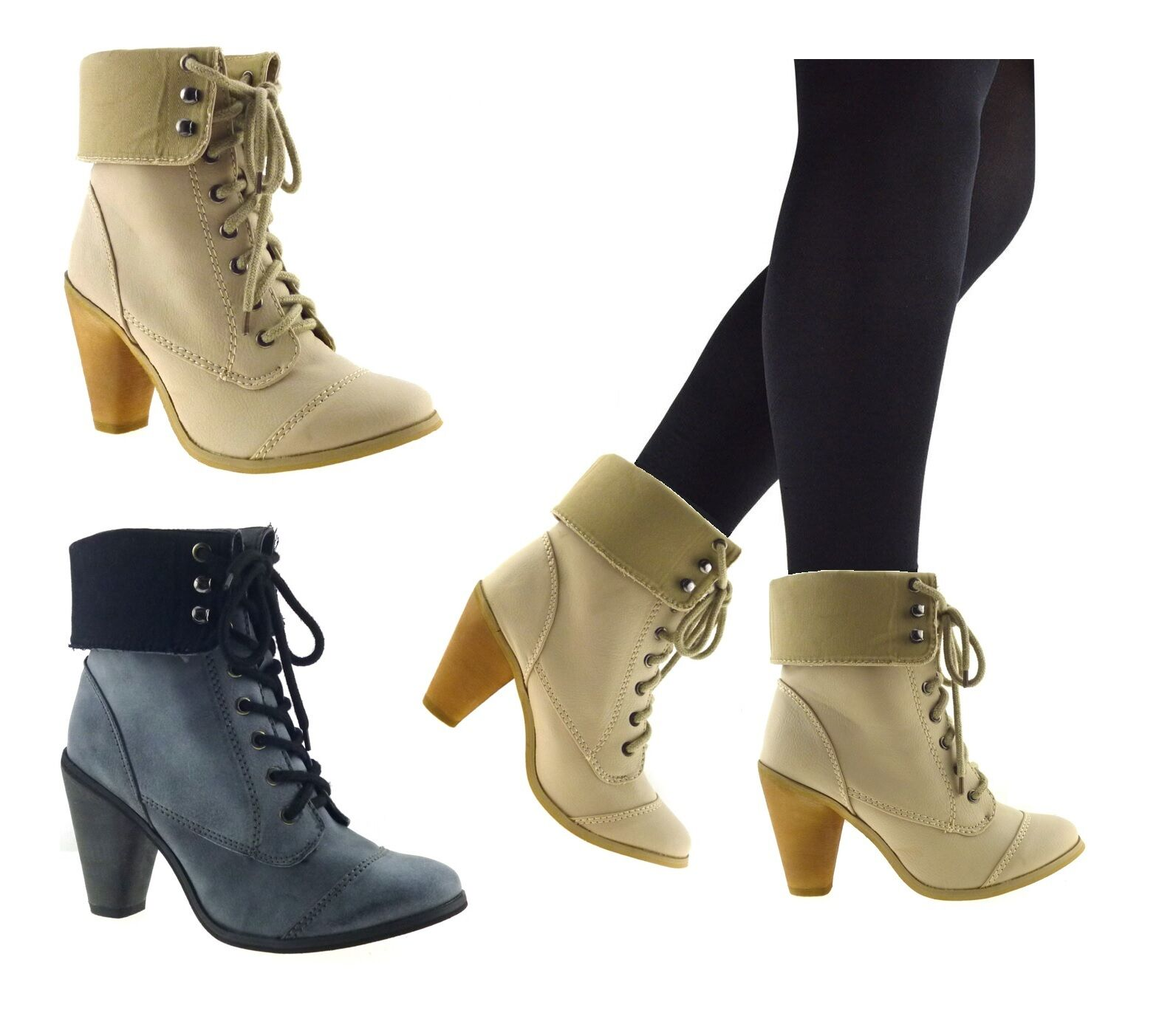 LADIES WOMENS NEW MID LOW BLOCK HEEL ANKLE BIKER MILITARY ARMY BOOTS SHOES SIZE