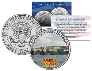 CHARLES-BRIDGE-Famous-Bridges-JFK-Half-Dollar-US-Coin-Prague-Czech-Republic