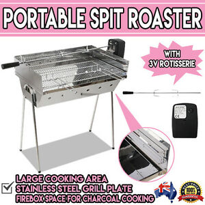 Portable-Spit-Roaster-w-3V-Rotisserie-BBQ-Pig-Outdoor-Charcoal-Stainless-Steel
