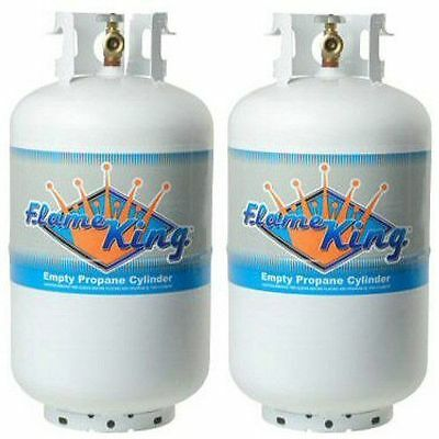 30 lb Vertical Cylinder Refillable Propane Steel LPG Tank 2 Pack, Flame King