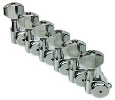Hipshot ENCLOSED Grip-Lock Guitar Tuners 6 inline CHROME Staggered Posts w/ UMP