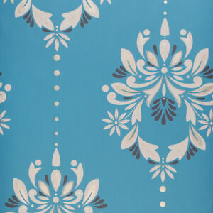 Image Is Loading Dulux Flat Patterned Feature Wallpaper Roll Blue Amp