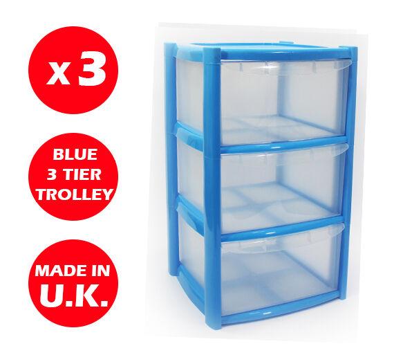 3 X 3 DRAWER PLASTIC STORAGE DRAWER - CHEST UNIT - TOWER - WHEELS - TOYS - blueE