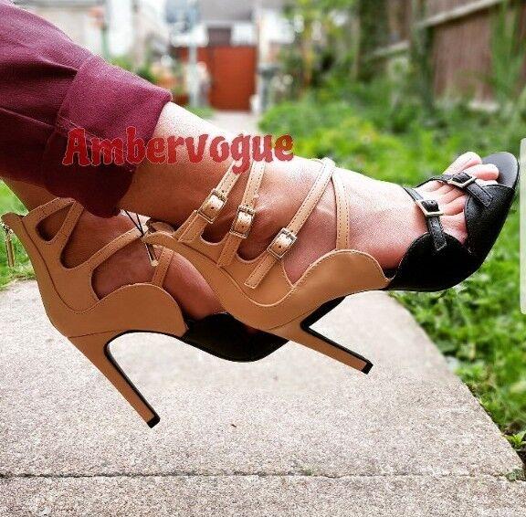Zara Nude Beige  noir strappy high heels buckles Taille UK 5 EURO 38 US 7