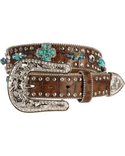 N3484602 Nocona Women/'s Turquoise Hue Stone Cross And Crocodile Print Belt