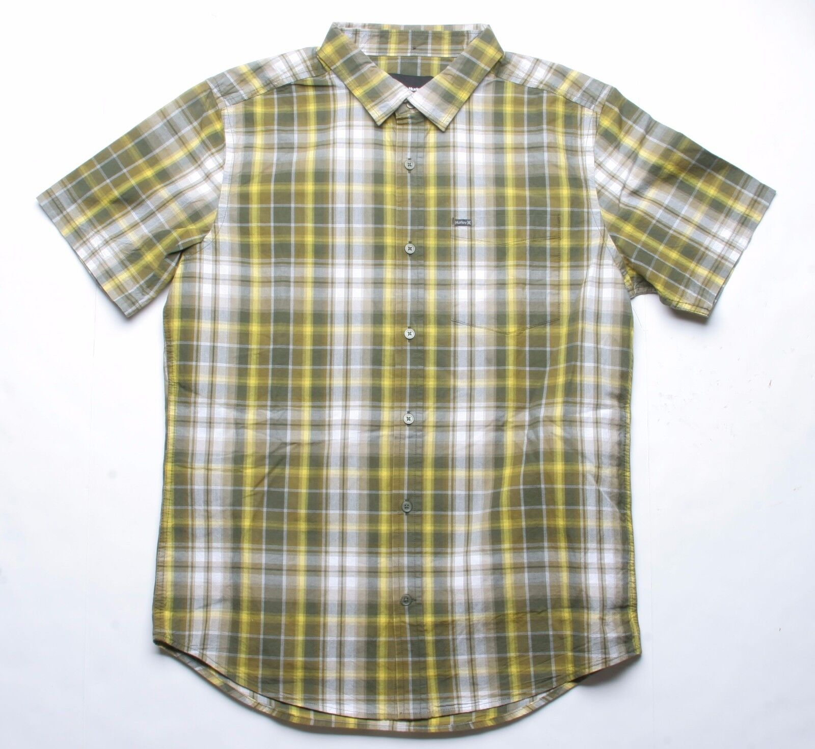 Hurley Havoc Short Sleeve Plaid Woven Shirt (Green) M