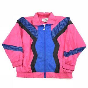 50b81817b1113 Vintage 80s 90s Track Jacket Windbreaker Nylon Neon Color Block Sz S ...