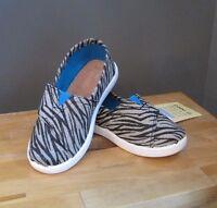 Toms Toddler Girls Metallic Canvas Zebra Classic Slip On Shoe Us 9 Nwb