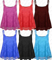 Womens Ladies & Girls Full Floral Lace Strappy Cami Swing Vest Tank Top T Shirt