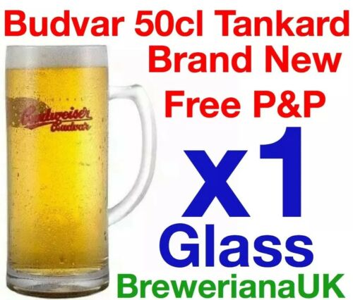 Single Budweiser Budvar Pint Tankard Glass Brand New 100/% Genuine Official