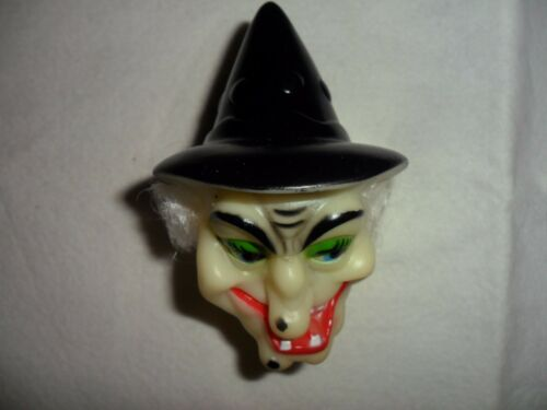 Vintage Vinyl Witch Head with White Hair
