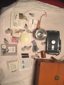 Vintage Polaroid Land Camera Model 150 with Light Original Case And Accessories