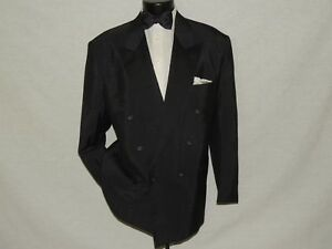 Via-Veneto-Men-039-s-Classic-Double-Breasted-Black-formal-tuxedo-jacket-coat-46-R