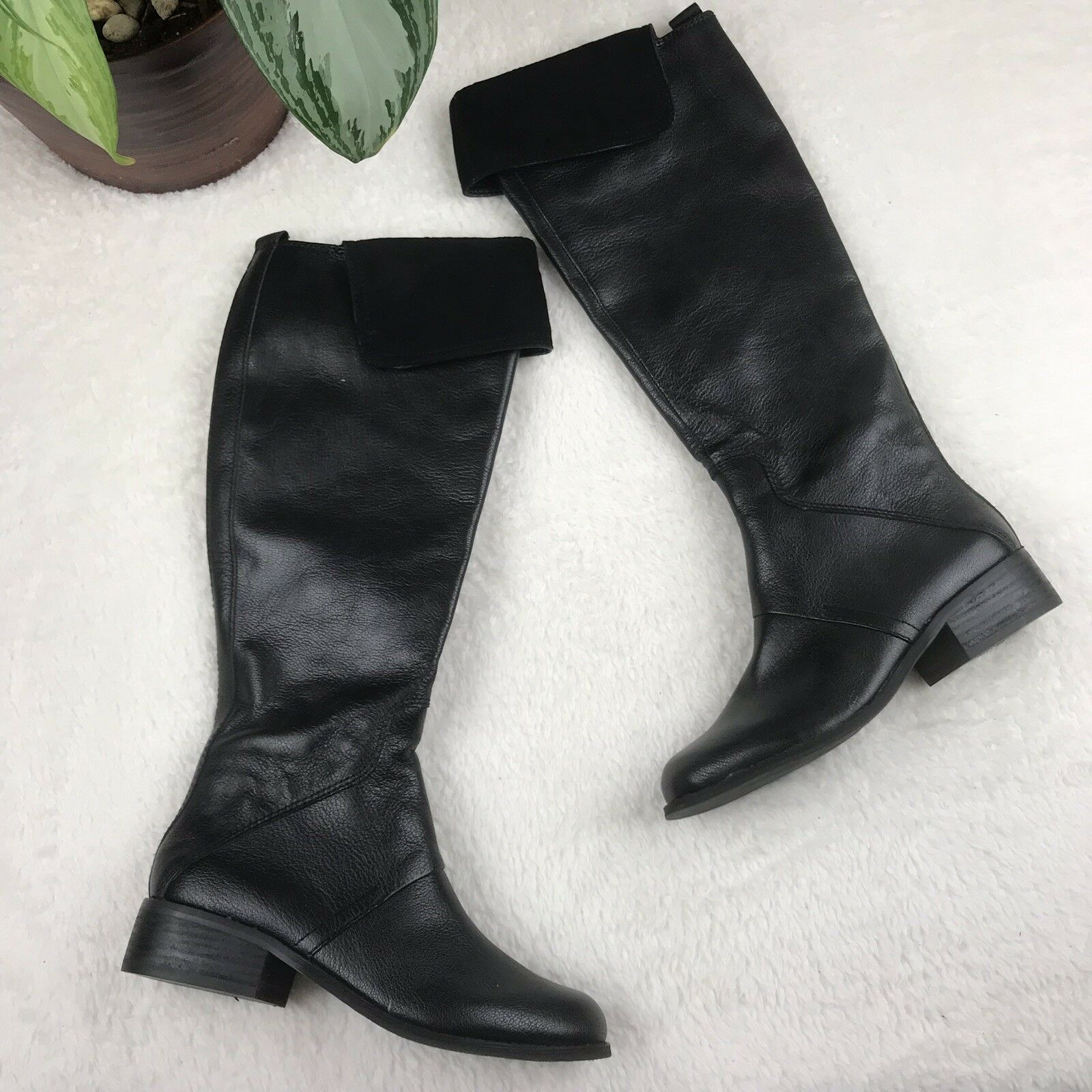 Nine West Black Noriko Knee High Leather Riding Boots Boots Boots Women's Size 5 305566
