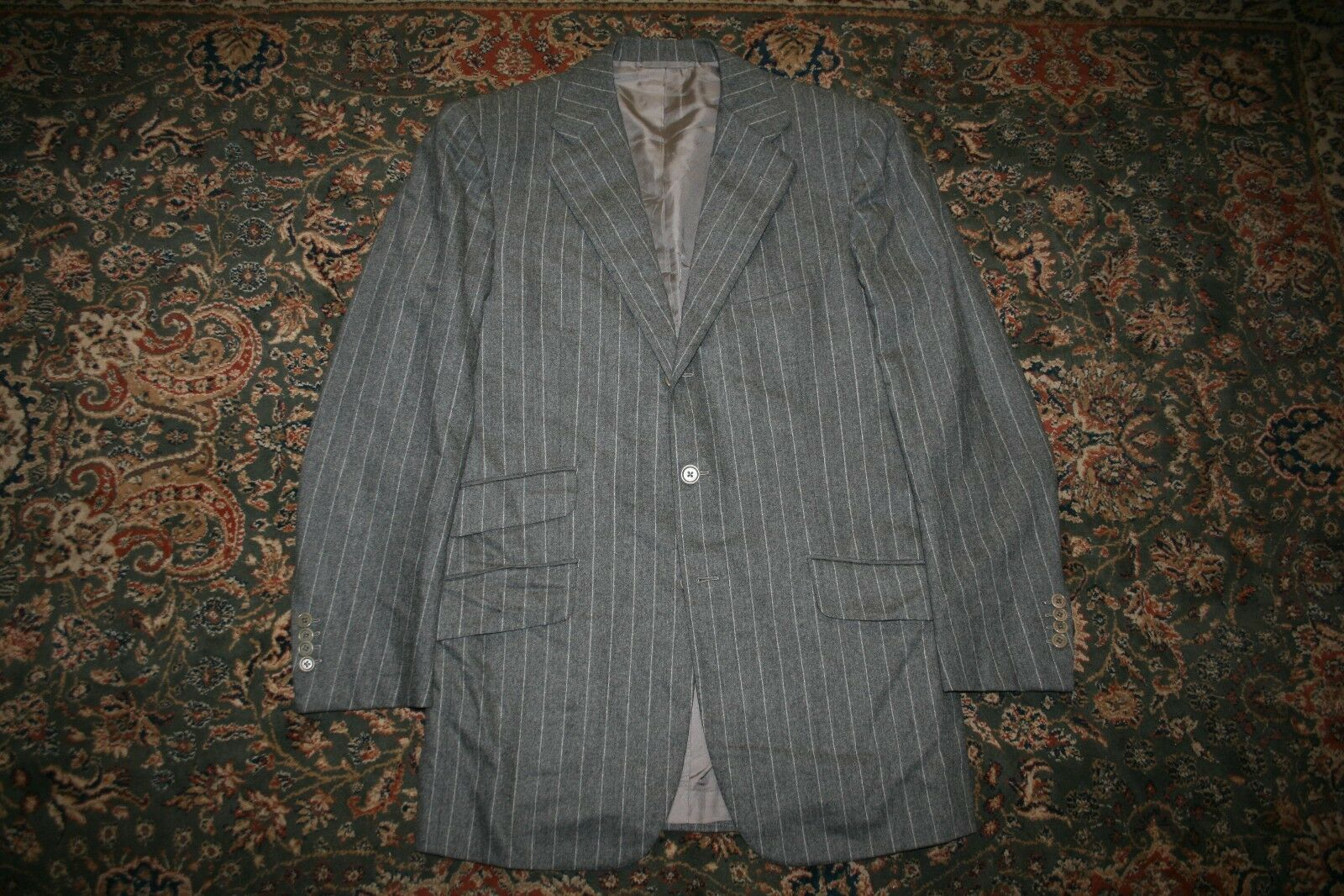Luciano Barbera grau Chalk Stripe Flannel Wool Two Button Suit 40 42 R ITALY