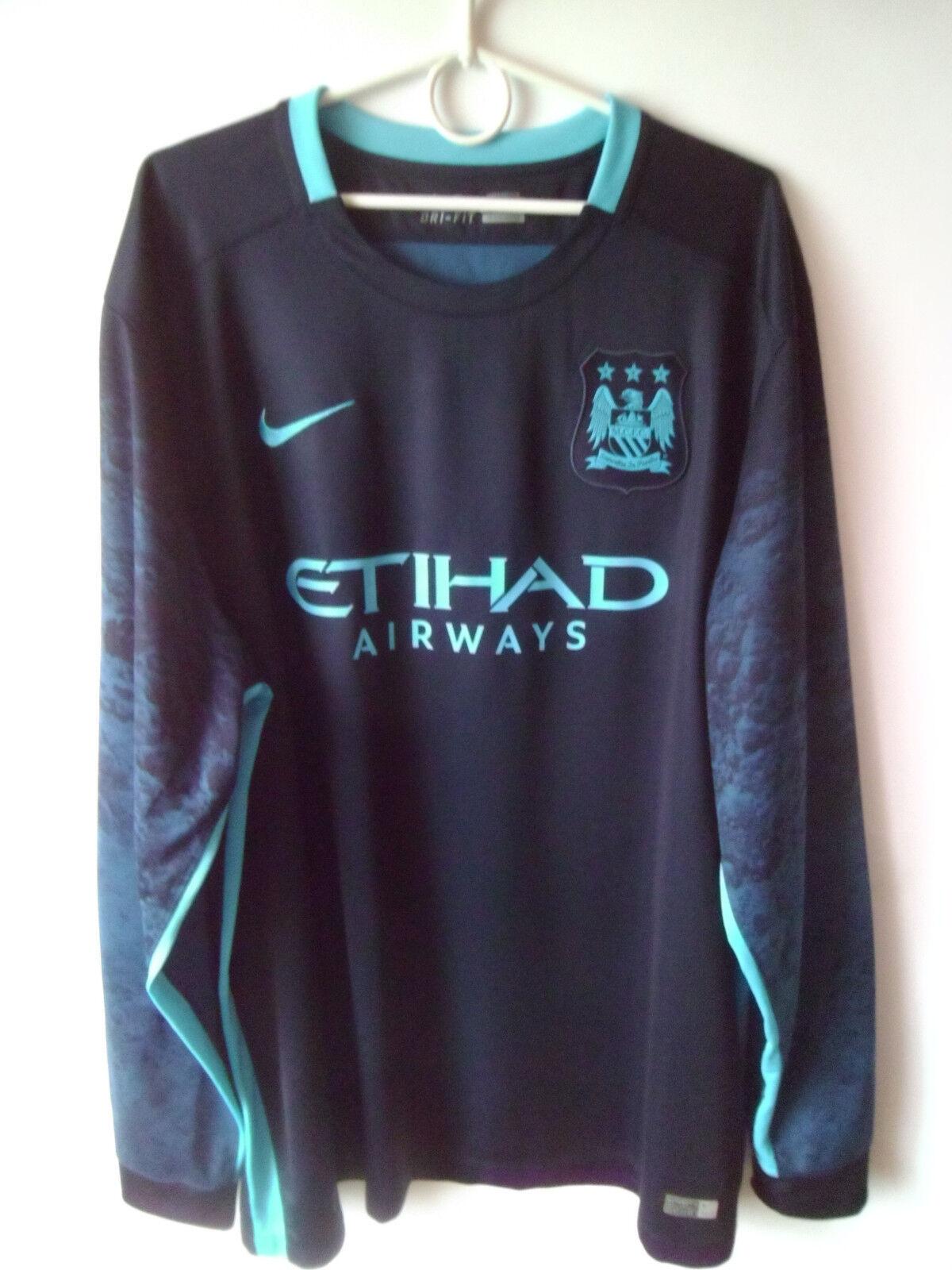 EXCELLENT   2015-16 Manchester City Away Shirt Jersey Jersey Shirt Long SleeveTrikot XXL 2XL b95102