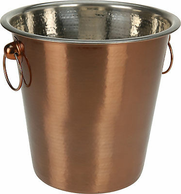 Beaten Copper Effect Stainless Steel Ice Bucket Wine Cooler Champagne Cooler