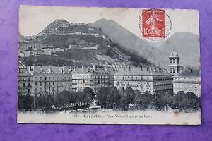 Postal-Posatle-Antigua-Postal-Grenoble-Plaza-Victor-Hugo-Y-Los-Fuertes