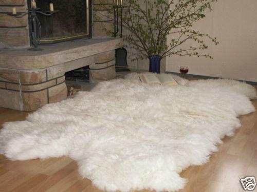 Pecora Tappeto, Pecora Tappeto, bianco, dimensione circa 200x120cm da 4 pelli
