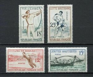 22236-FRANCE-1958-MNH-Nuovi-Traditional-Sports-4v