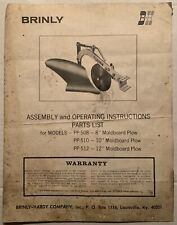 Brinly Hardy Pp 508 Pp 510 Pp 512 Garden Plow Operation Parts Owners Manual Oem