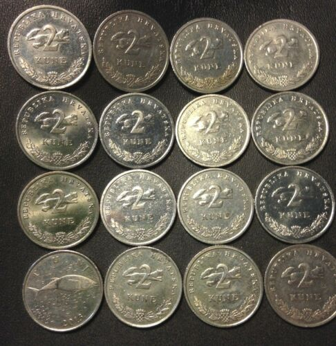 16 High Quality Coins FREE SHIP Old CROATIA Coin Lot Scarce Type 2 KUNA