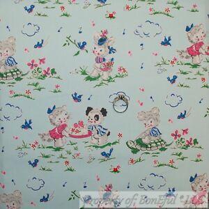 BonEful-FABRIC-FQ-Cotton-Quilt-VTG-Antique-Blue-White-Bear-Bird-Turtle-Flower-US