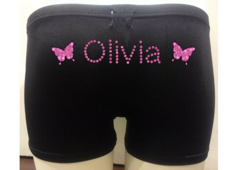 Personalised LYCRA Black Dance Gymnastic Gym Shorts Glitter Text VARIOUS DESIGNS